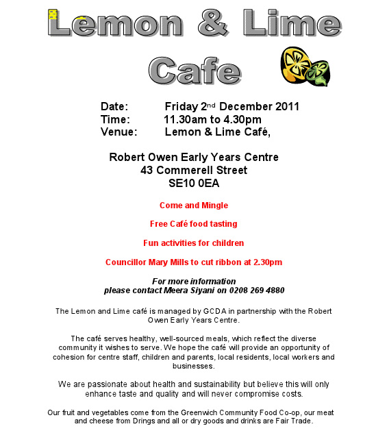 Lemon and Lime cafe poster