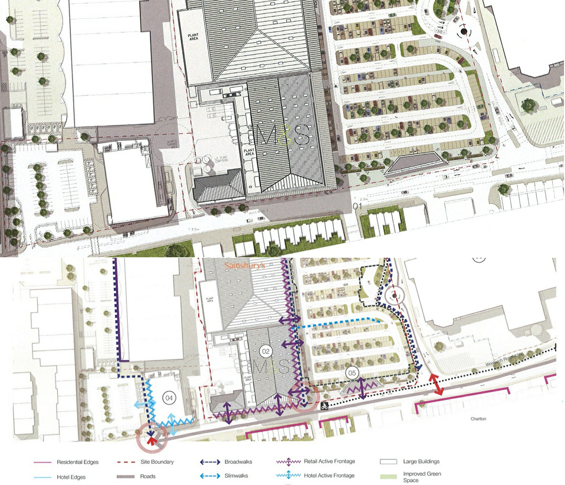 Application in for new charlton sainsburys and ms the charlton two different diagrams highlighting proposed changes to woolwich road falaconquin