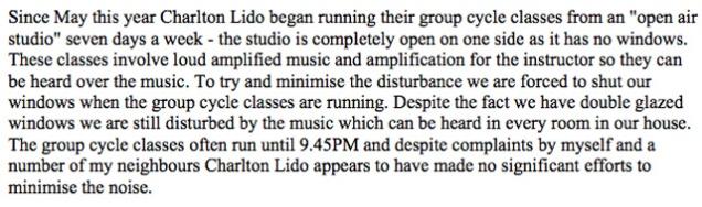 Charlton Lido licensing objection