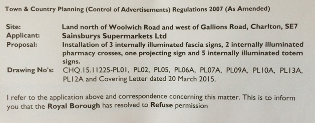 Council refusal letter