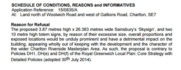 Greenwich Council's refusal