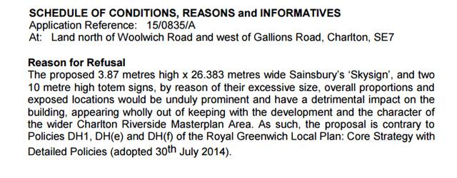 Greenwich Council's refusal