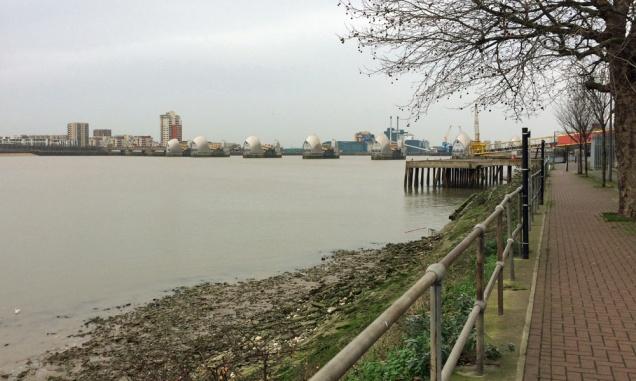 Charlton riverside at the Thames Barrier