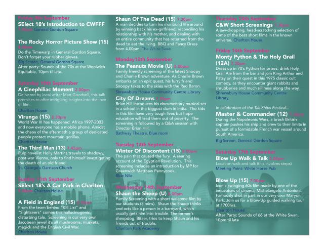 Charlton Woolwich Free Film Festival programme