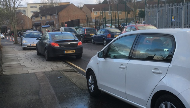 Parking outside the new Our Lady of Grace school