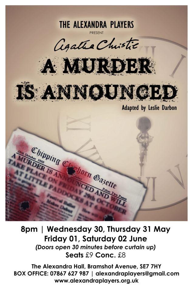 Alexandra Players poster - a murder is announced