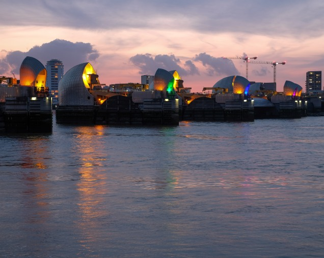 The Thames Barrier lit up in rainbow colours for International Day Against Homophobia, Transphobia and Biphobia in May 2018
