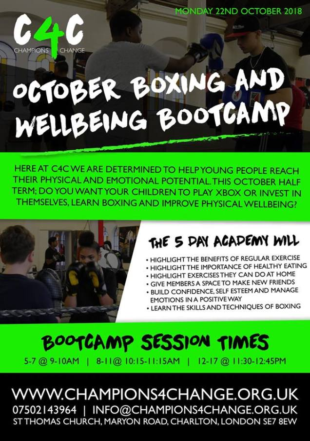 Champions 4 Change boxing Bootcamp October 2018